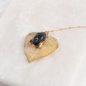 Gold Heart Leaf Buddha Necklace