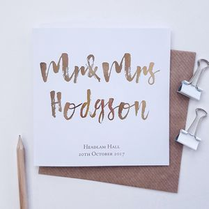 Mr And Mrs Personalised Wedding Card | Rose Gold - wedding cards & wrap