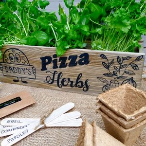 Personalised Pizza Herbs Window Box Garden - gifts for her