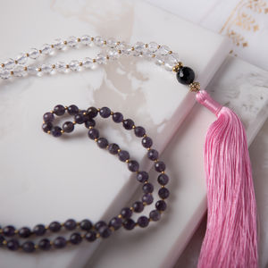 Amethyst And Quartz Yoga Mala Necklace