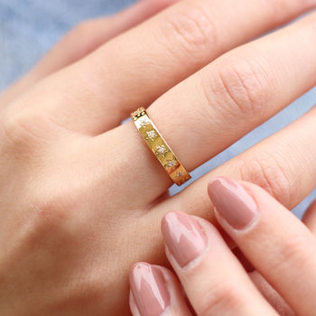 Gold Or Silver Semi Precious Crystal Constellation Ring