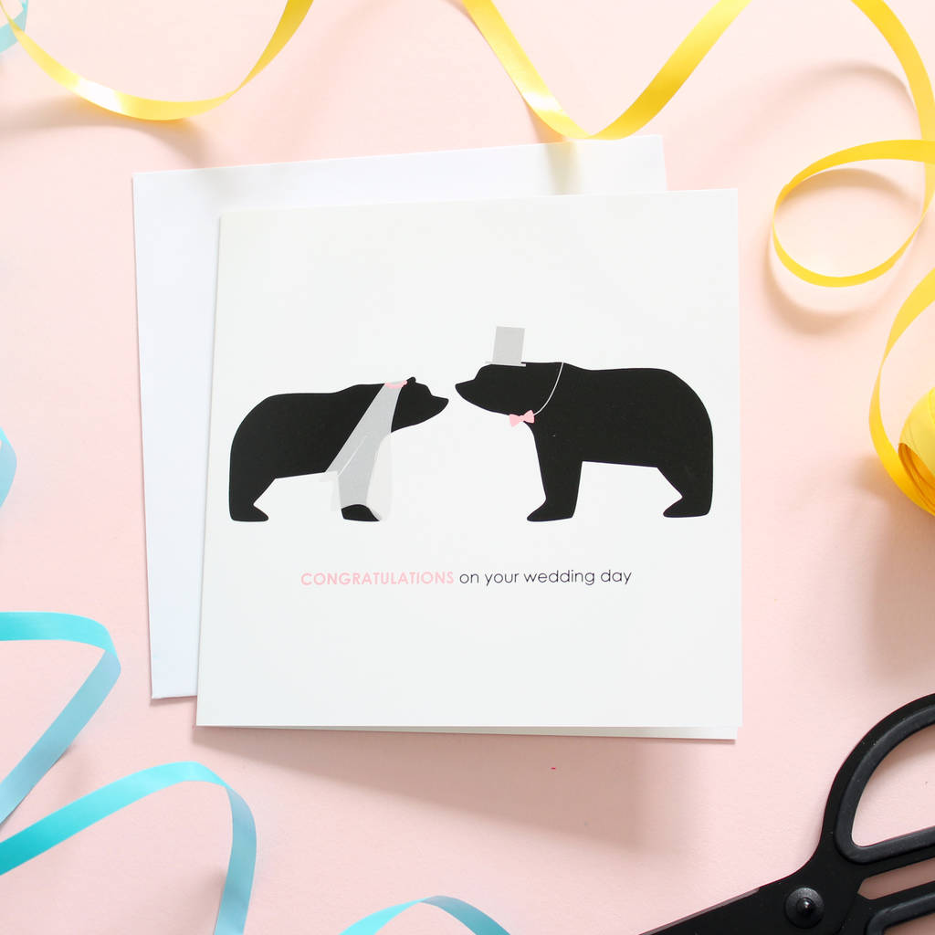 Congratulations On Your Wedding Day Bear Card By Heather Alstead