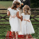 White Lace And Tulle Flower Girl Dress With Colour Sash
