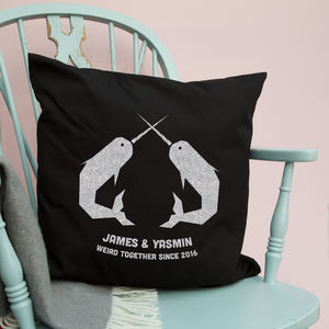 Narwhal Love Personalised Cushion