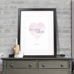 Personalised Grandma Heart Print