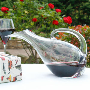 Gentleman's Red Wine Tilted Glass Carafe - drink & barware