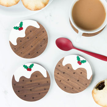 Wooden Christmas Pudding Coaster Set