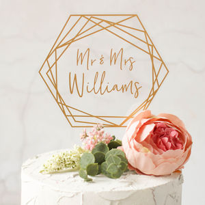 Personalised Gold Wedding Cake Topper Hexagon Shaped