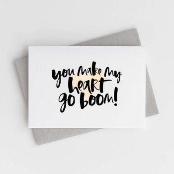 'You Make My Heart Go Boom!' Valentine's Card