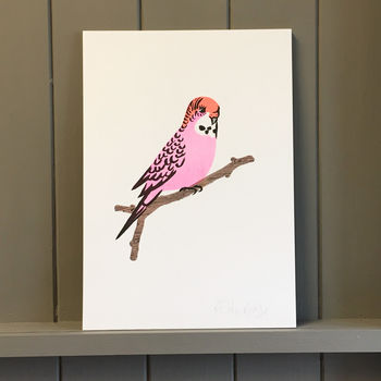 Pink Budgie Risograph Print