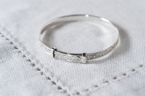 Sterling Silver Christening Baby Bangle - charms, charm bracelets & necklaces