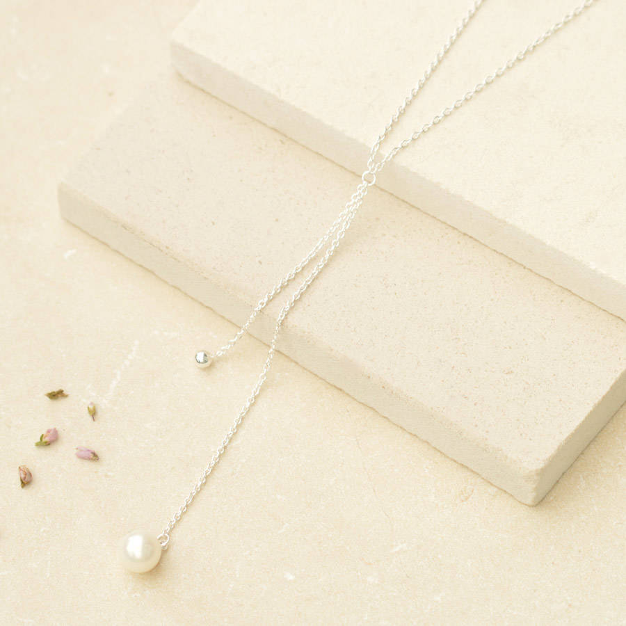 Falling Silver Bead And Pearl Necklace