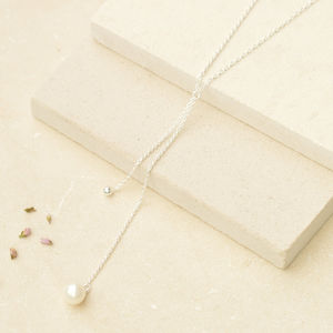 Falling Silver Bead And Pearl Necklace - necklaces & pendants