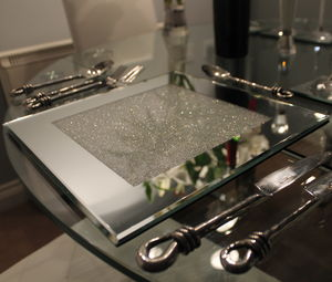 Set Of Mirrored Placemats With Swarovski Crystals - placemats & coasters