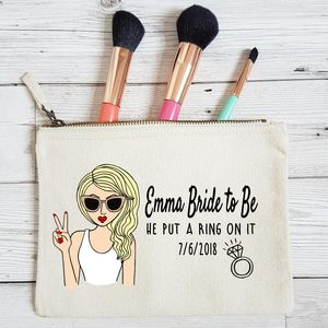 'Bride To Be' Personalised Gift For Bride Makeup Bag