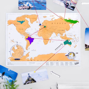 Travel Scratch Off 'Push Pin ' Map Bundle - gifts under £15