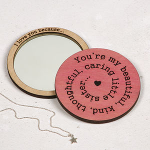 I Love You Because… Compact Pocket Mirror - personalised gifts