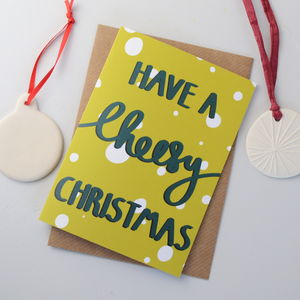 Cheesy Christmas Hand Lettered Christmas Card