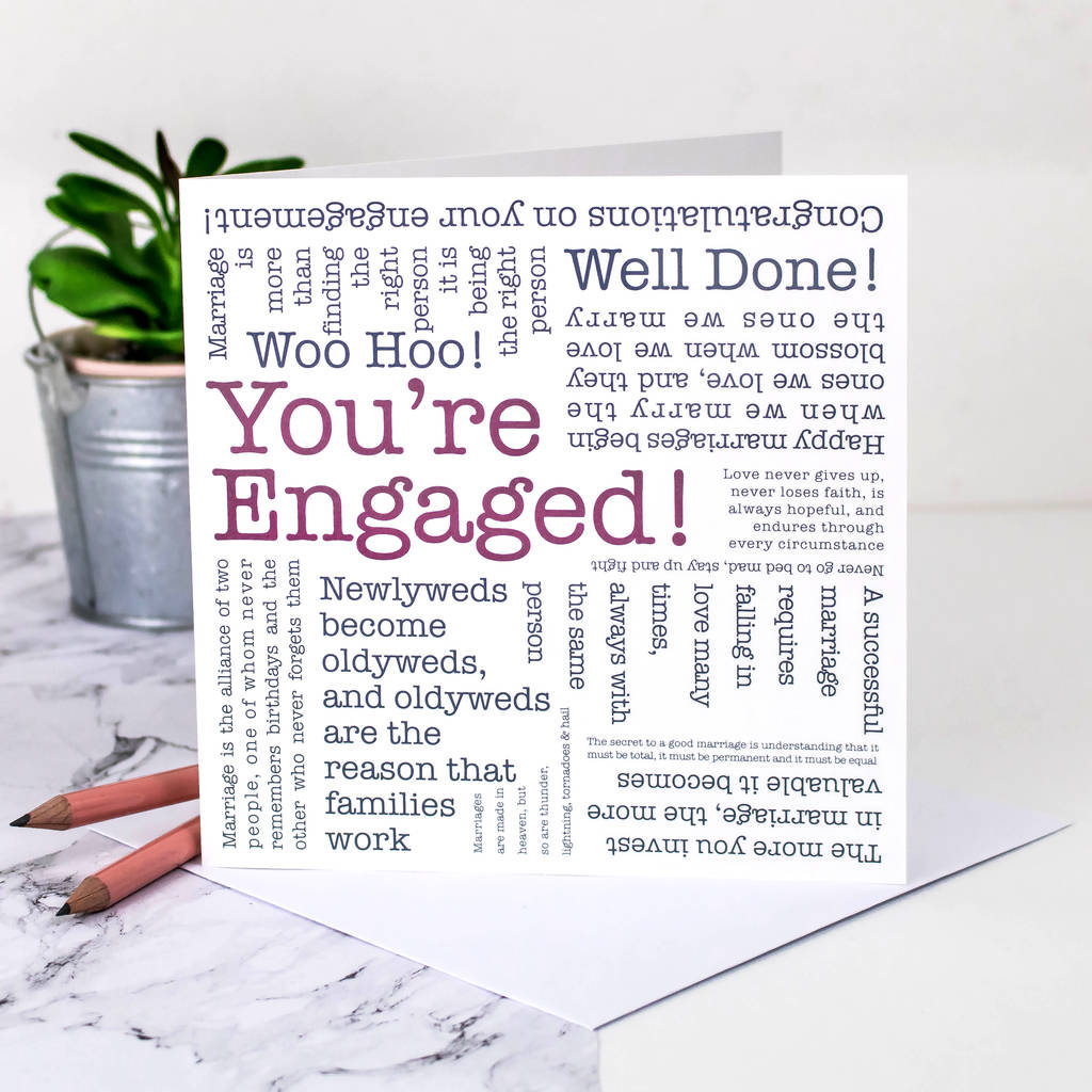 Engagement Card 'You're Engaged!' Quotes