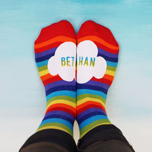 Personalised Rainbow Cloud Socks - clothing
