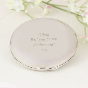 Engraved 'Will You Be My Bridesmaid' Compact Mirror