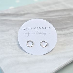 Hammered Silver Karma Circle Stud Earrings - earrings