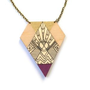 Illustrated Tribal Pattern Kite Shaped Wooden Necklace