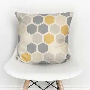 Yellow And Grey Hexagon Cushion Cover