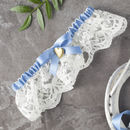 Lauren Vintage Heart Locket Lace Wedding Garter