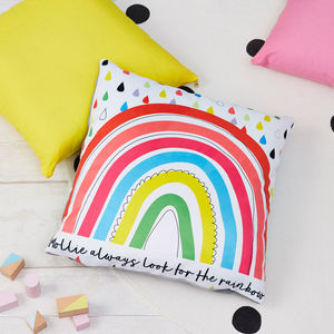 Children's Rainbow Personalised Square Cushion - personalised cushions