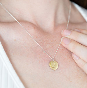 Gold Hammered Small Disc Necklace Brass