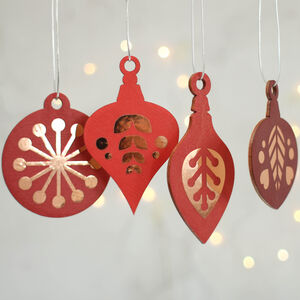 Christmas Tree Decoration Set, Red With Copper