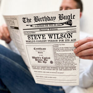 Personalised 'The Birthday Bugle' Newspaper For Him