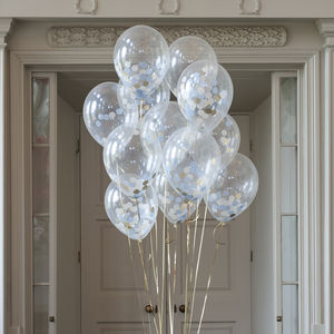 Pack Of 14 Baby Boy Confetti Balloons - room decorations