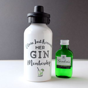 Personalised Gin Membership Water Bottle And Mini Gin - flasks & waterbottles