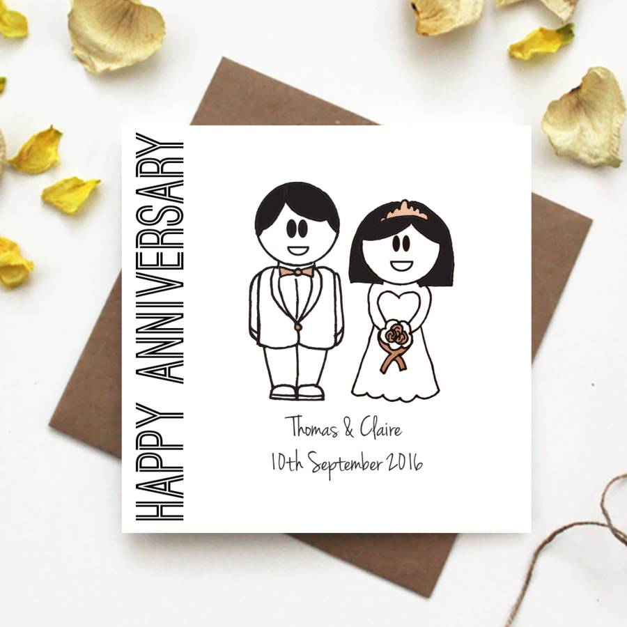 happy anniversary wedding card by the abstract bee