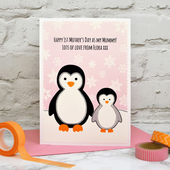 'Penguins' Personalised First Mother's Day Card
