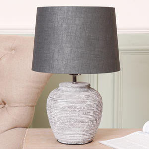 Concrete Grey Ceramic Table Lamp With Dark Grey Shade
