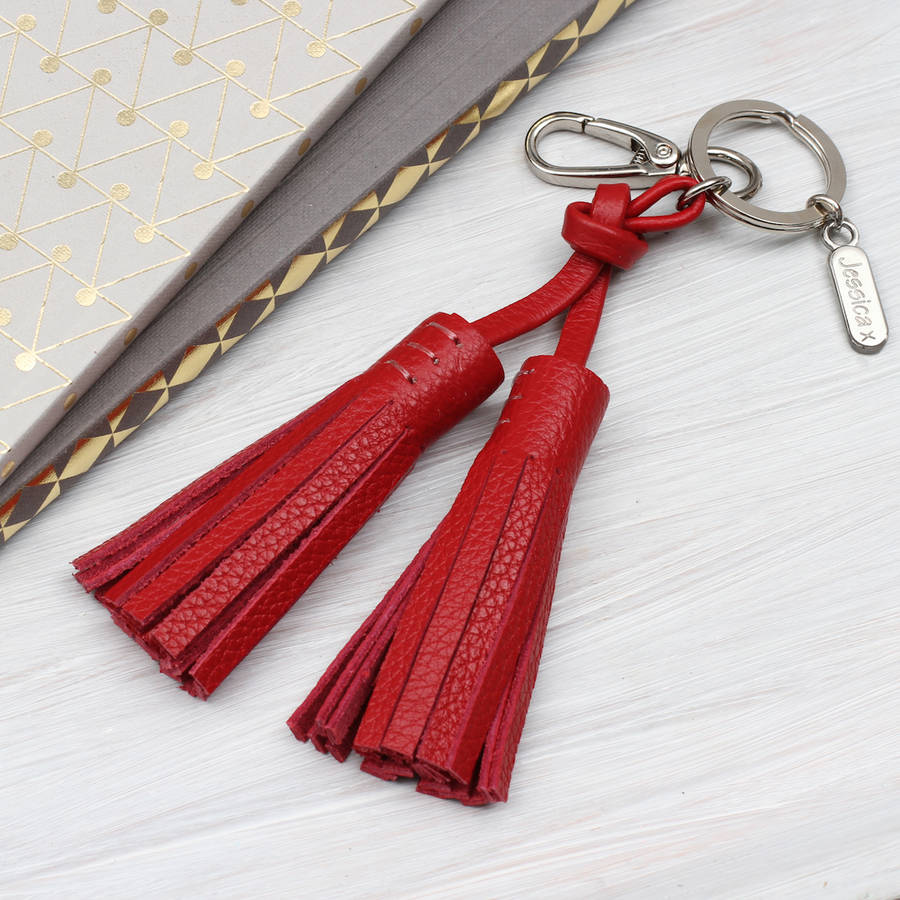 personalised luxury nappa leather tassel bag charm by hurleyburley ... 61f25ebce2be1
