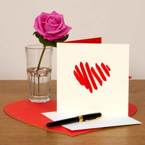Valentine's Card With Heart Shaped Ribbon