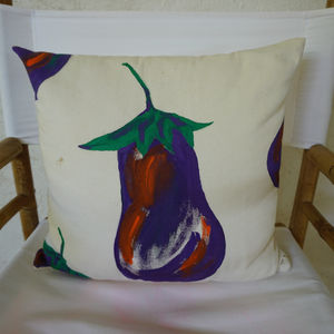 Christabel's Hand Painted Aubergine Cushion - new in home