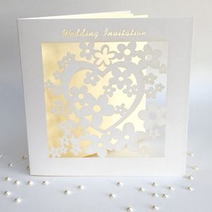 Wedding Invitations Heart Laser Cut Pack Of Six - invitations