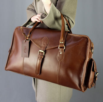 Classic Personalised Leather Cabin Bag In Tan