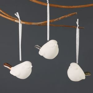 Set Of Three Hanging Metallic Dipped Bird Decorations - winter sale