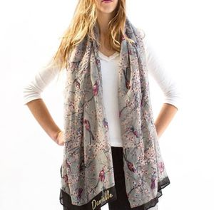 Personalised Or Monogrammed Faded Bird Print Scarf