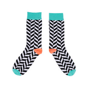 Unisex Black And White Geometric Socks