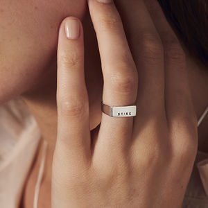 Personalised Rectangle Silver Signet Ring - original signet rings
