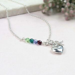 Birthstone Bar And Heart Personalised Necklace