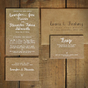 White Calligraphy Kraft Effect Wedding Invitation Set - save the date cards