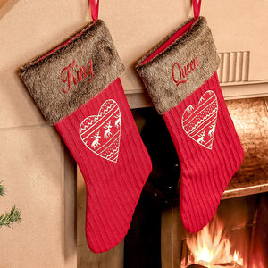 Personalised Set Of Two Nordic Christmas Stockings - stockings & sacks
